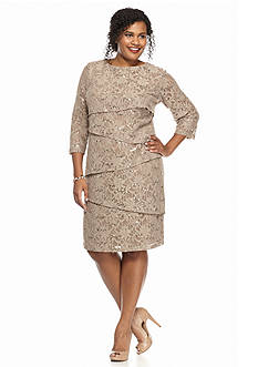 Ronni Nicole Plus Size Lace and Sequin Tiered Sheath Dress