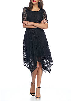 Ronni Nicole Lace and Sequin Hankie Hem Dress