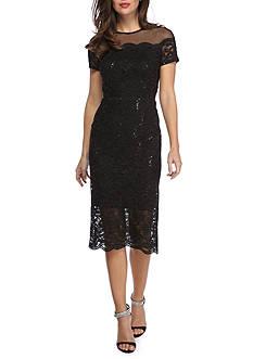 Ronni Nicole Sheer Yoke Lace Midi Dress