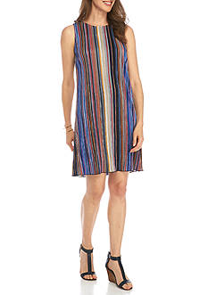Ronni Nicole Striped Textured Shift Dress