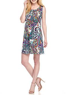 Ronni Nicole Paisley Printed Pin-Tuck Shift Dress