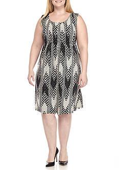 Ronni Nicole Plus Size Polka Dot Pin-Tuck Shift Dress