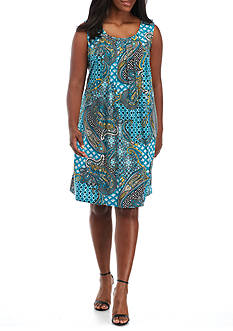 Ronni Nicole Plus Size Printed Pin-tuck Shift Dress