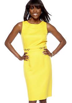 Tahari ASL Solid Jacquard Sheath Dress