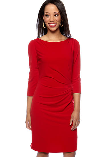 TAHARI™ Petite Side Ruched Jersey Dress