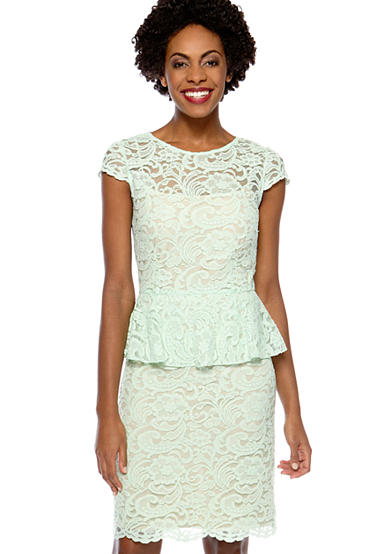 Cap-Sleeved Allover Lace Peplum Dress