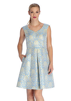 Tahari ASL Metallic Jacquard Fit and Flare Dress