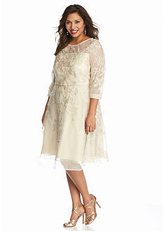 Tahari ASL Plus Size Lace Fit and Flare Dress
