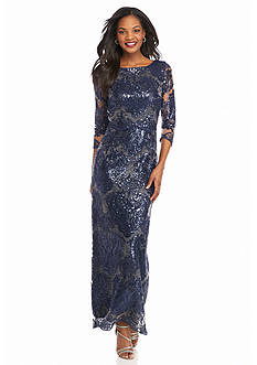 Tahari ASL Popover Sequin Lace Gown