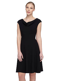 Tahari Cowl Neckline Fit and Flare Dress