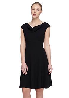 TAHARI™ Cowl Neckline Fit and Flare Dress