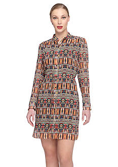 TAHARI™ Chiffon Printed Shirt Dress