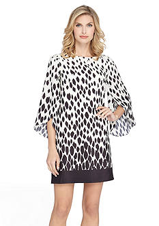 TAHARI™ Tulip-Sleeve Printed Shift Dress