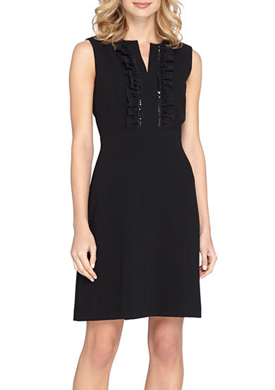 Tahari Bead Embellished Ruffle Front A-line Dress