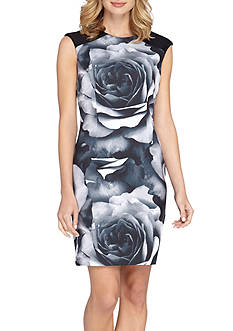 TAHARI™ Floral Printed Scuba Sheath Dress