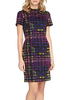 Tahari Houndstooth Sheath Dress with Faux Leather Trim