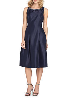 Tahari Bead Embellished Fit and Flare Dress