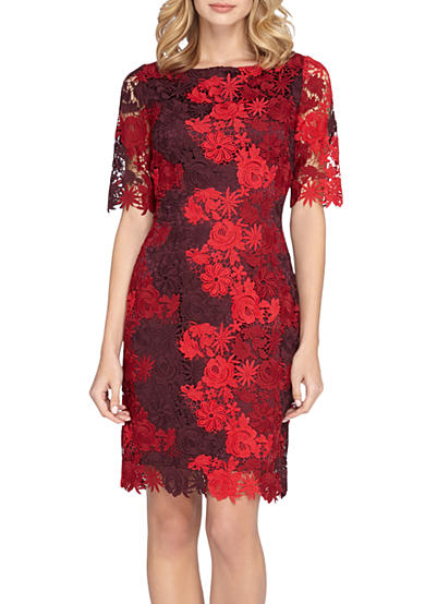 Tahari Floral Lace Sheath Dress