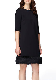 Tahari Faux Fur Hem Shift Dress