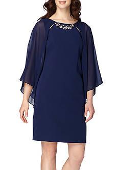 Tahari Embellished Neck Shift Dress