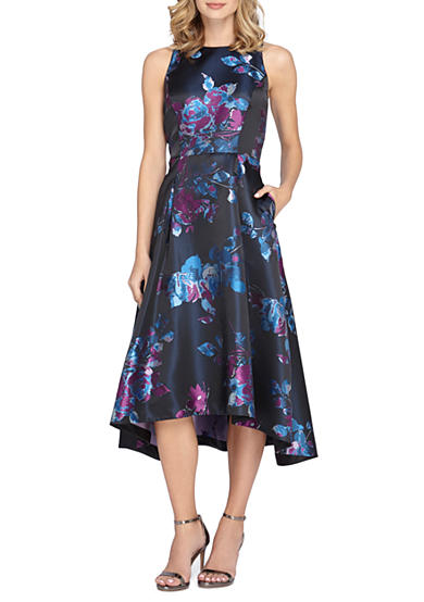Tahari floral printed fit and flare dress with hi lo for Hi lo hemline wedding dresses