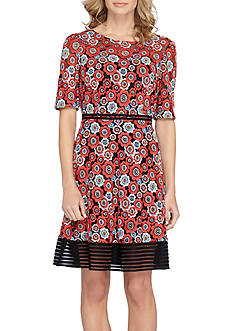 Tahari Floral Printed A-line Dress with Striped Mesh Hem Border