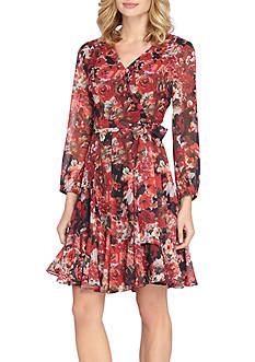 TAHARI™ Floral Chiffon Faux Wrap Dress
