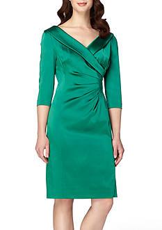 Tahari Portrait Collar Satin Wrap Dress