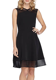 TAHARI™ Stripe Mesh Fit and Flare Dress