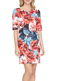 Tahari Floral Printed Scuba Sheath Dress