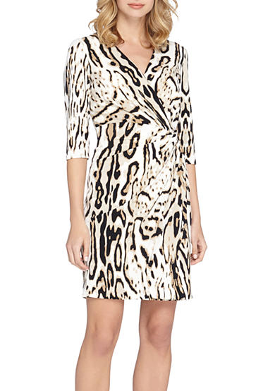 Tahari Animal Printed Jersey Wrap Dress