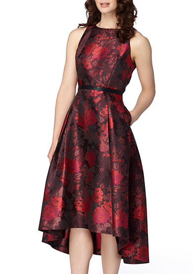 Tahari Floral Jacquard Fit and Flare Dress