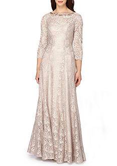 Tahari ASL Embellished Neck Lace Gown