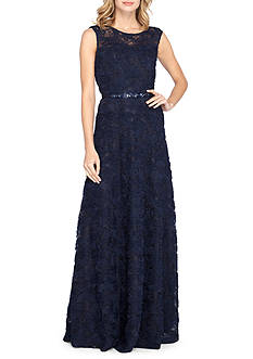 Tahari ASL Lace Gown with Rhinestone Belt