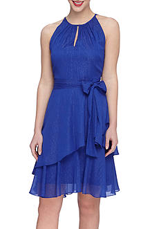 Tahari Shimmer Chiffon A-line Tiered Dress