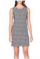 Tahari ASL Houndstooth Shift Dress with Faux