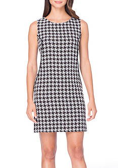 Tahari ASL Houndstooth Shift Dress with Faux Leather Trim