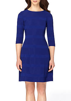 Tahari ASL Striped Fit and Flare Dress