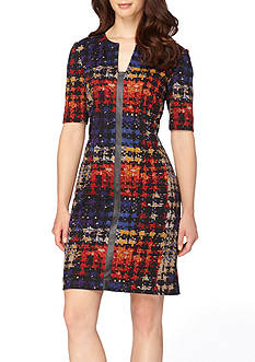 Tahari ASL Houndstooth Ponte Sheath Dress