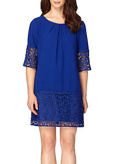 Tahari ASL Lace Trim Shift Dress