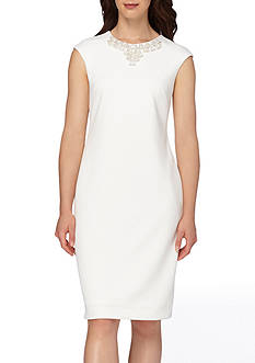 Tahari ASL Bead Embellished Scuba Sheath Dress