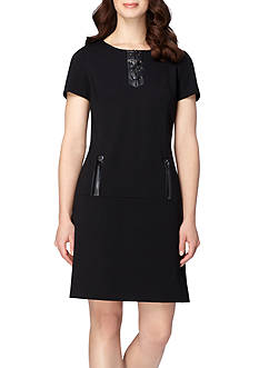 Tahari ASL Drop-waist Ponte Dress with Faux Leather