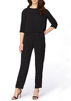 Tahari ASL Three-Quarter Sleeve Jumpsuit