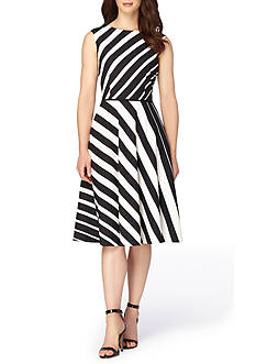 Tahari ASL Stripe Fit and Flare Dress