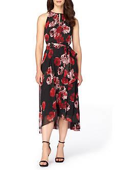 Tahari ASL Floral Chiffon Dress