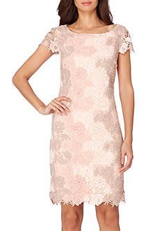 Tahari ASL Cap Sleeve Chemical Lace Sheath Dress