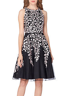 Tahari ASL Sleeveless Embroidered Mesh Fit-and-Flare Dress