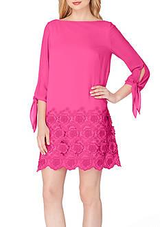 Tahari ASL Floral Embroidered Hem Shift Dress