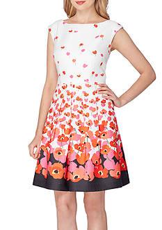 Tahari ASL Floral Printed Fit and Flare Dress