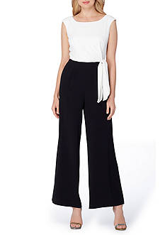 Tahari ASL Sleeveless Side Tie Jumpsuit
